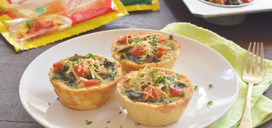 Cheesy Spinach and Mushroom Quiche