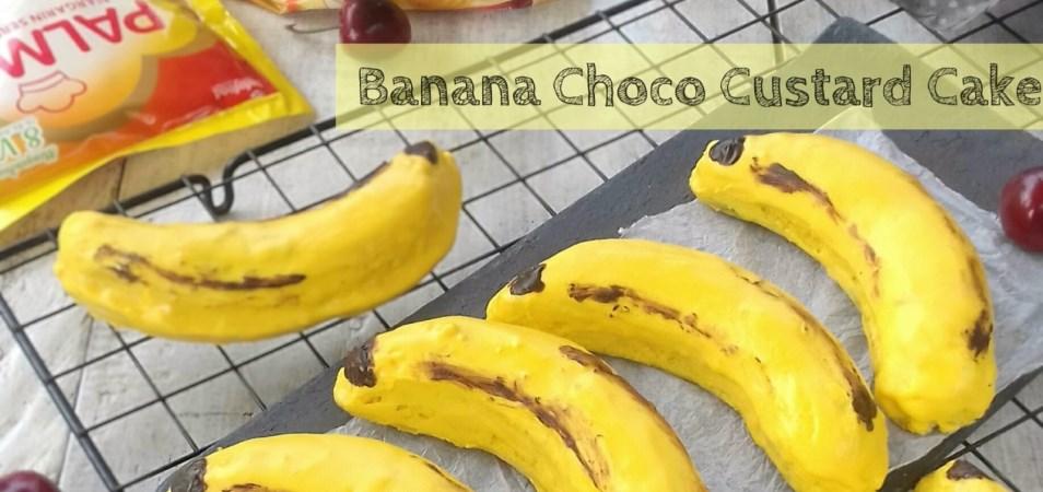 Banana Choco Custard Cake